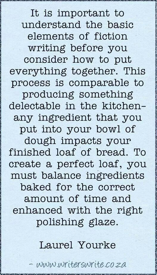 Fictional writing compared to making bread