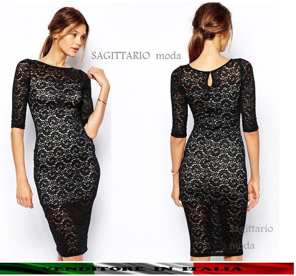 749fd95c919e Vestito tubino in pizzo cachemire abito a matita elegante cerimonia sera  nero