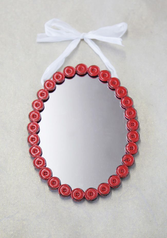 Cute As A Button Hanging Mirror In Red @mimi ヾ(^∇^)
