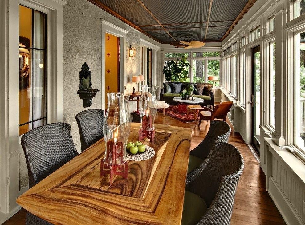 Sun Porch Ideas Sunroom Traditional With Beadboard Ceiling Treatment  Centerpiece