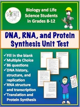 DNA, RNA, Protein Synthesis Unit Test for Grades 8-12   DNA