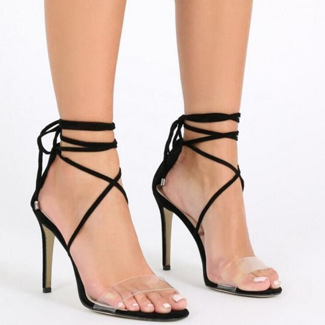 Gladiator Sandals Women 2017 Sexy Summer High Heels Open Toe Lace PVC  Sandals Ankle Strap Women s Shoes Black A288-50  Size 4-9   laceuphighheelboots   ... 0c53fab822b9