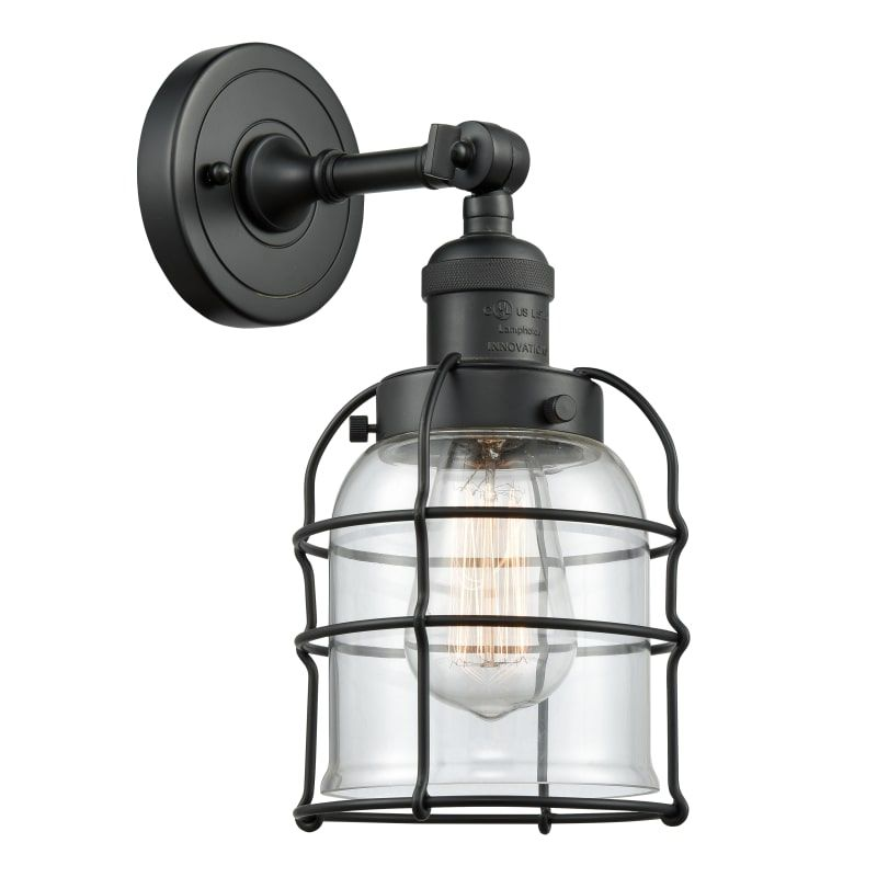 Innovations Lighting 203 Small Bell Cage Small Bell Cage Single Light 12 Tall B Matte Black Clear Indoor Lighting Bathroom Fixtures Bathroom Sconce In 2020 Wall Sconce Lighting Led Wall Sconce Bathroom Sconces