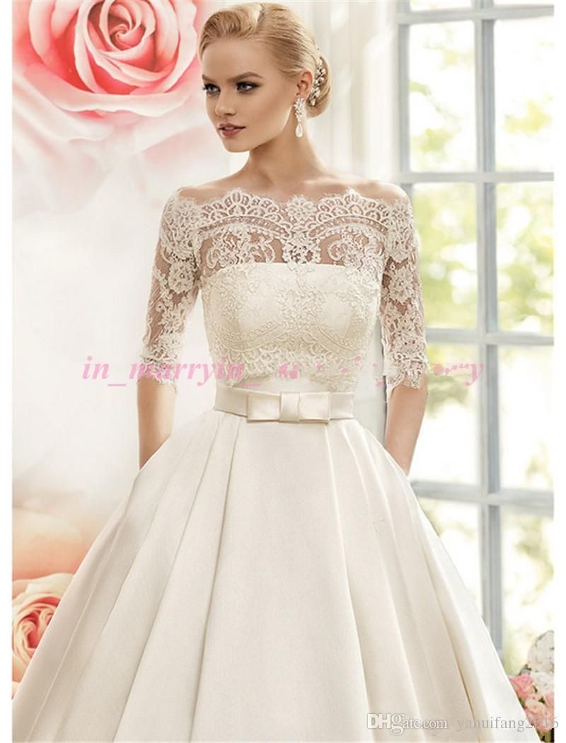 naviblue wedding dresses with pockets off shoulder long