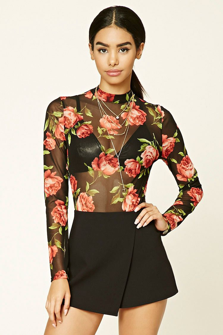 SEMI-SHEER FLORAL BODYSUIT. #dress #fashion #style #trend #onlineshop #shoptagr