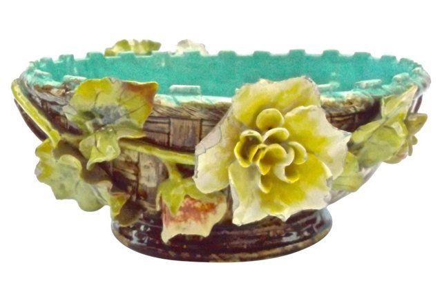 Barbotine French Majolica Floral Bowl