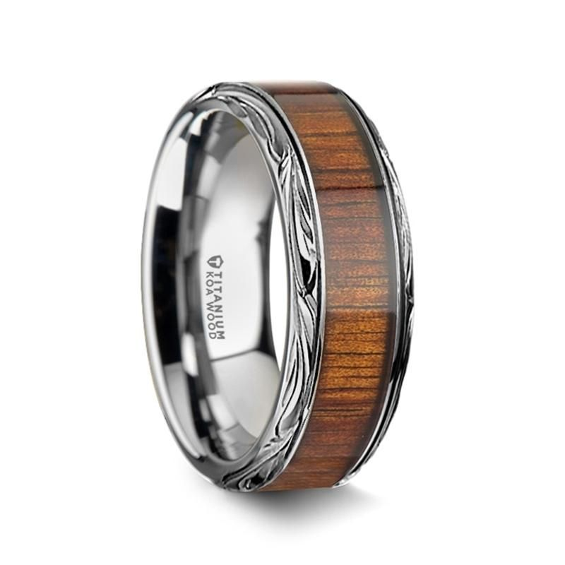 Montane Men S Wedding Ring Titanium With Koa Wood Inlay 8mm 10mm Wood Inlay Rings Mens Wedding Rings Tungsten Tungsten Carbide Wedding Rings