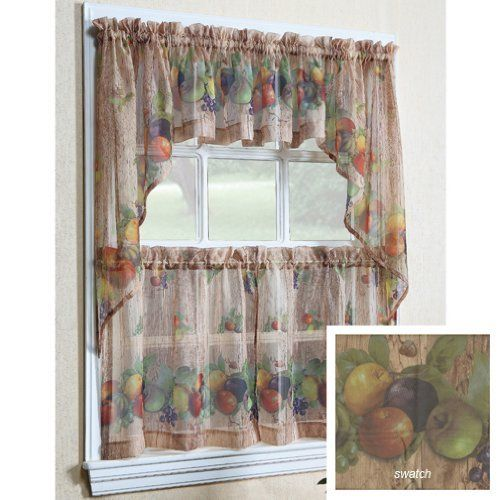"Autumn Fruits Kitchen Curtain Pair Of 36"" Tiers By"
