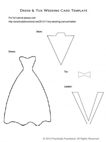 Diy Wedding Card Dress  Tux Trifold  Printable  Diy Wedding