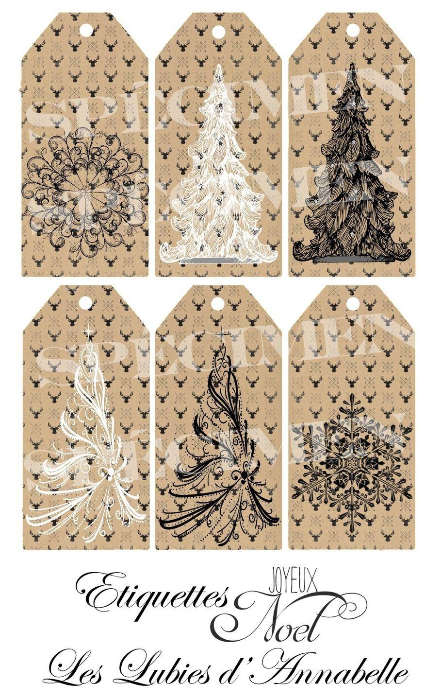 Fabulous Étiquettes de Noël vintage à imprimer | Noël xmas Christmas  JL53