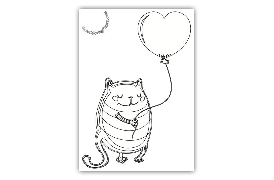 Cat With Pink Balloon Coloring Page Cat Coloring Page Pink Balloons Coloring Pages