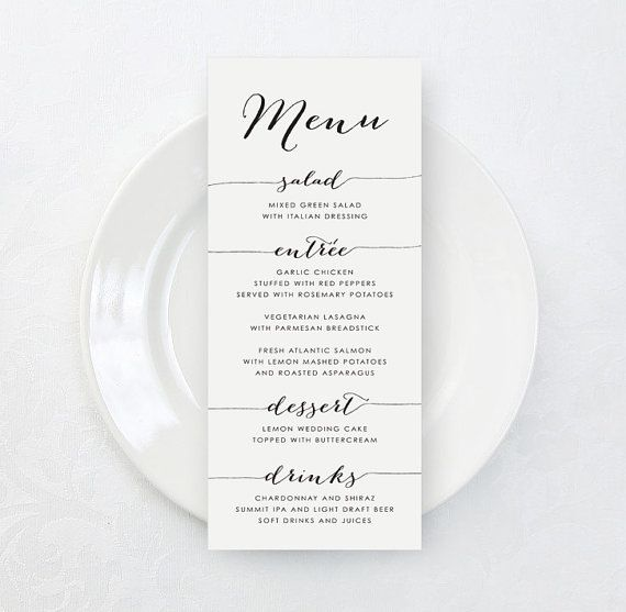 Printable Custom Wedding Menu Card Diy Tea Length Elegant Menu Card Wedding Menu Cards Diy Wedding Menu Wedding Menu