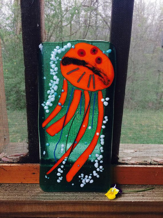 I am soooo Jelly Fused glass Jellyfish art sun catcher