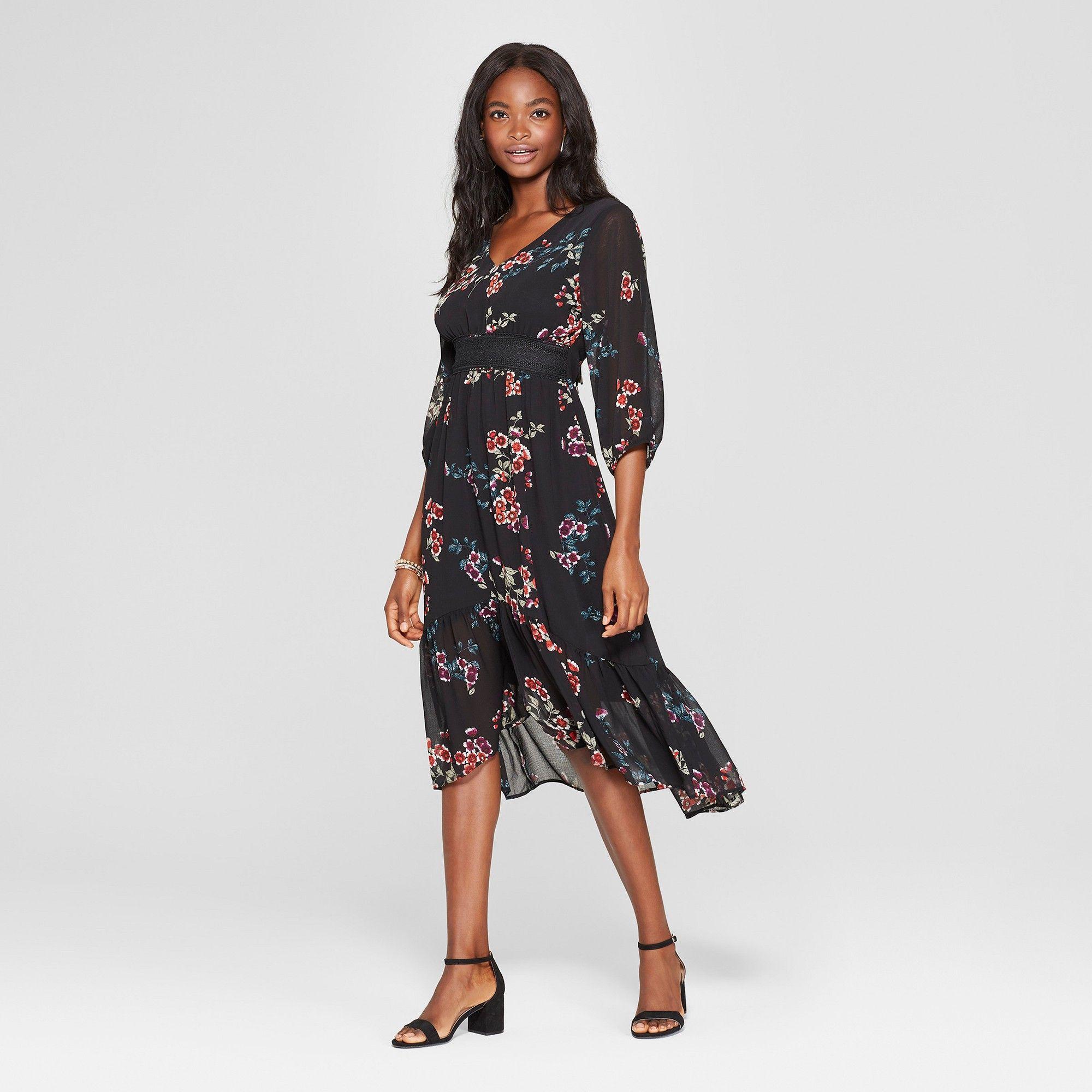 6a258dd386d Women s Floral Print Long Sleeve V-Neck Hi Low Hem Midi Dress - Xhilaration  Black Xxl