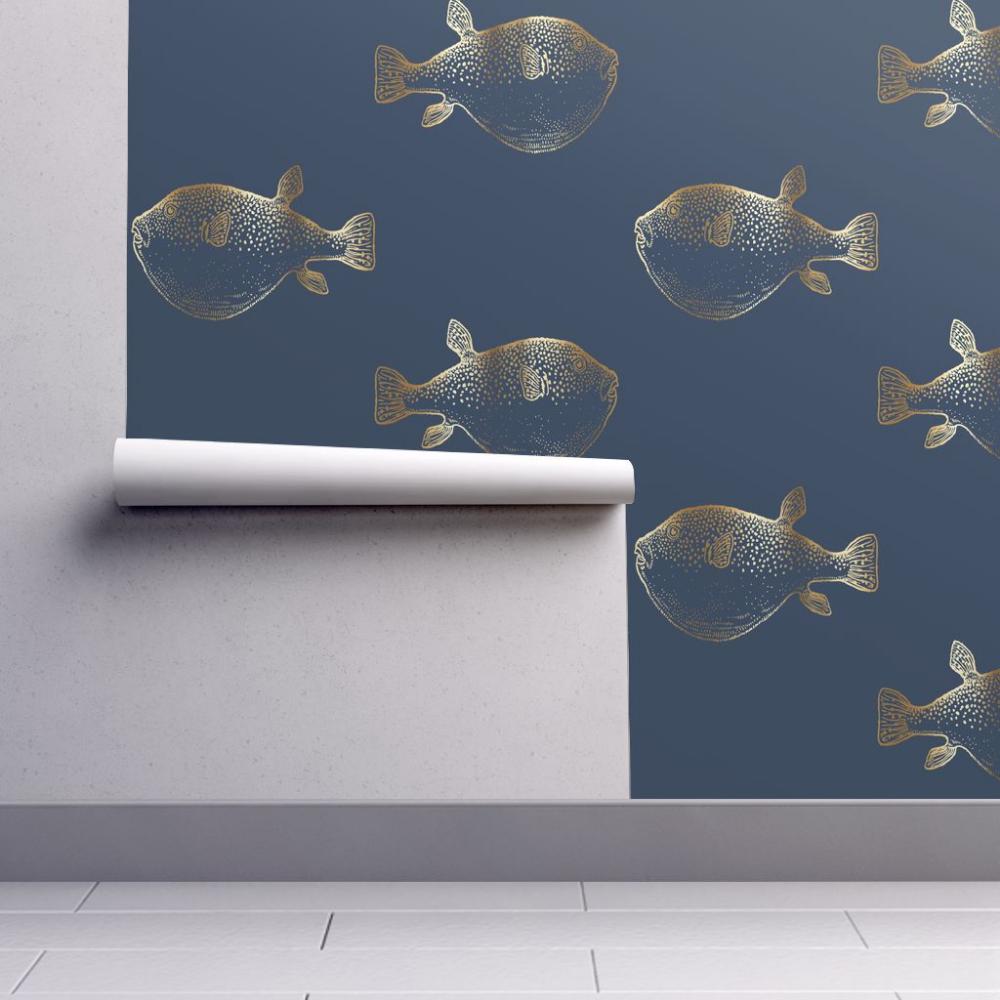 Wallpaper Gold Puffer Fish Blowfish On Navy Pufferfish Fish Wallpaper Self Adhesive Wallpaper Adhesive Wallpaper