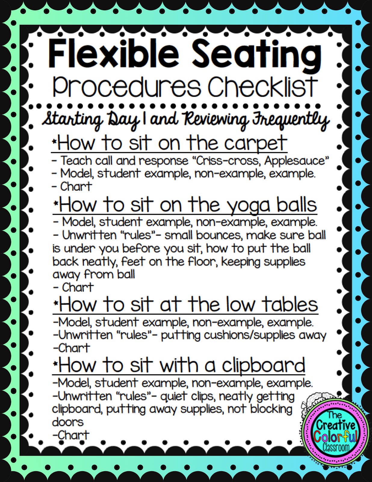 Classroom procedures classroom organization classroom management - The Creative Colorful Classroom Flexible Seating Procedures