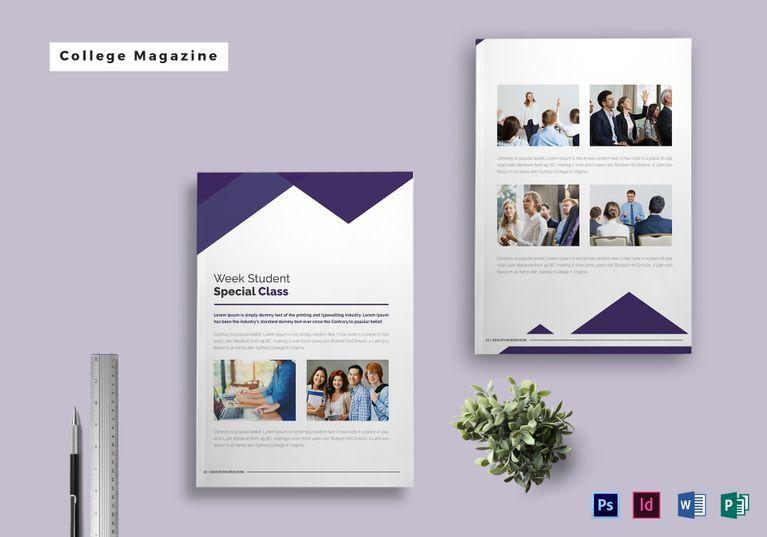 College Magazine Template Magazine Template Template Design Magazine Design