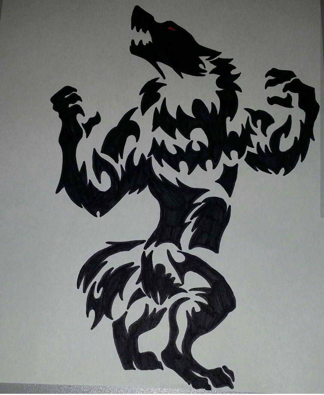 Tribal Werewolf By Lydia Hallett Werewolf Tattoo Tribal Wolf Tattoo Werewolf Art