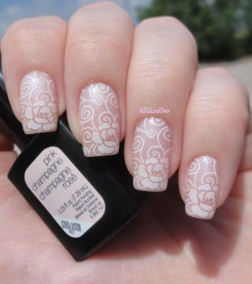 Sensationail pink champagne stamped with pueen lace blossom plate sensationail pink champagne stamped with pueen lace blossom plate using sinful color snow me white nail art prinsesfo Choice Image