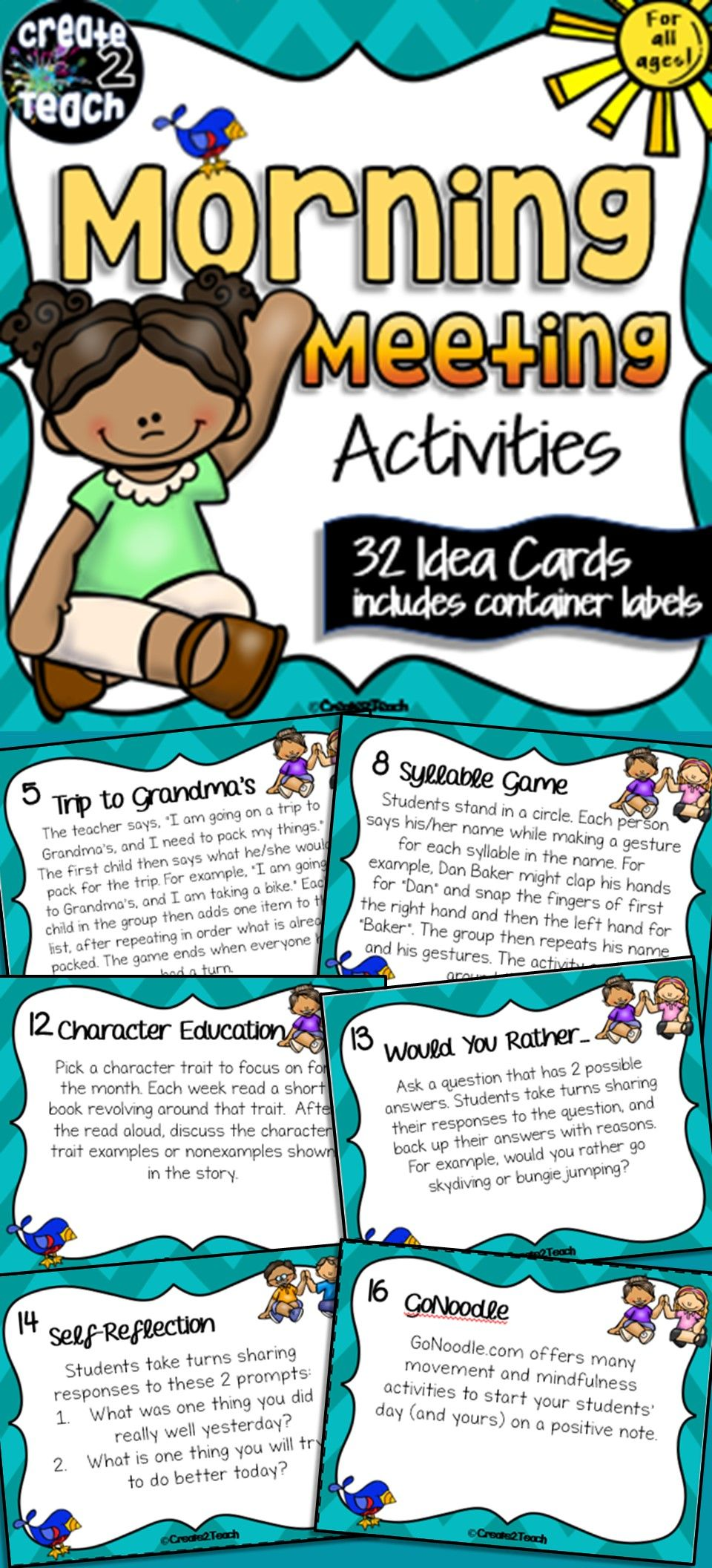 Morning Meeting Activity Idea Cards   TPT Elementary favorites! A ...