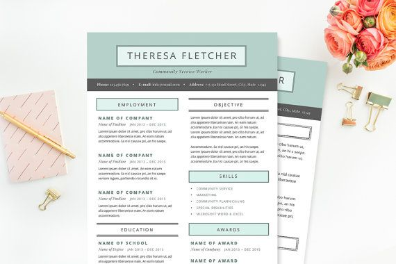 Chic Resume  Cover Letter Template  Clean Template Package