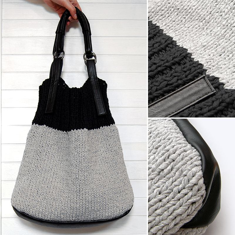 Hoooked Ribbon spagetti yarn knitted hand bag in grey and black with ...