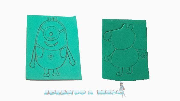 Cómo hacer sellos de la cerdita Peppa y los Grus para los peques | Aprender manualidades es facilisimo.com