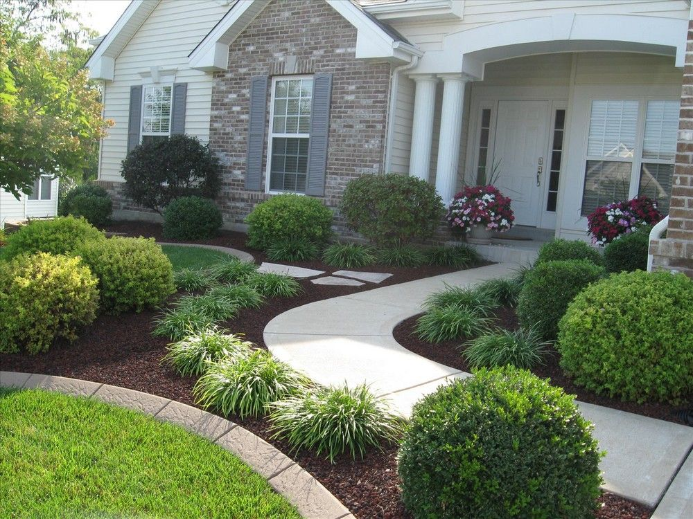 130 simple fresh and beautiful front yard landscaping for Simple landscape ideas for front of house