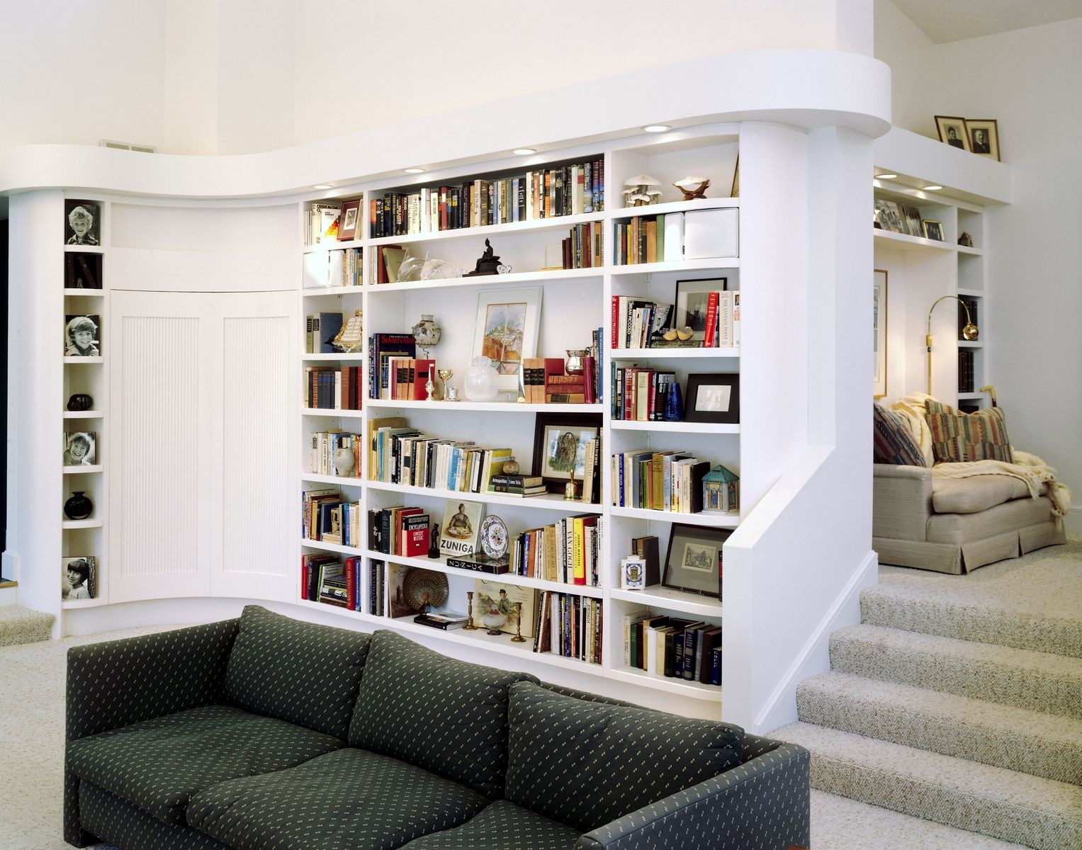 Modern Book Shelves curve top bookcase with closeted wet bar/media alcove (living or