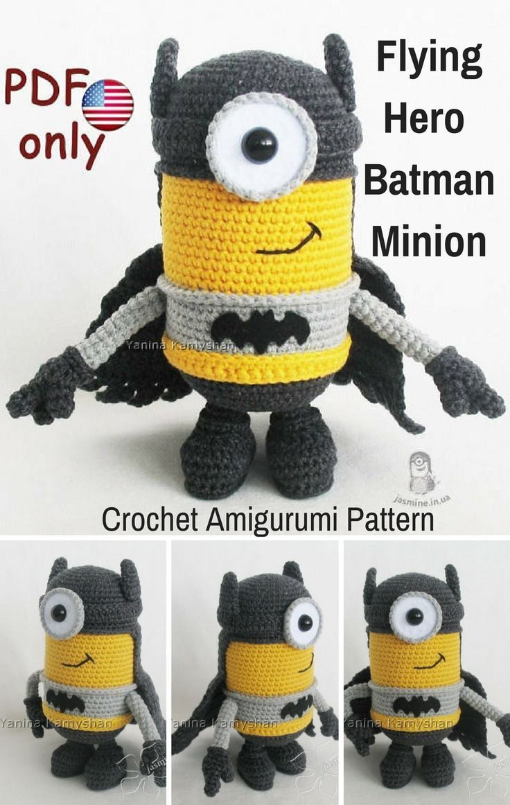 This Flying Hero Batmat Minion is a crocheted amigurumi doll that ...