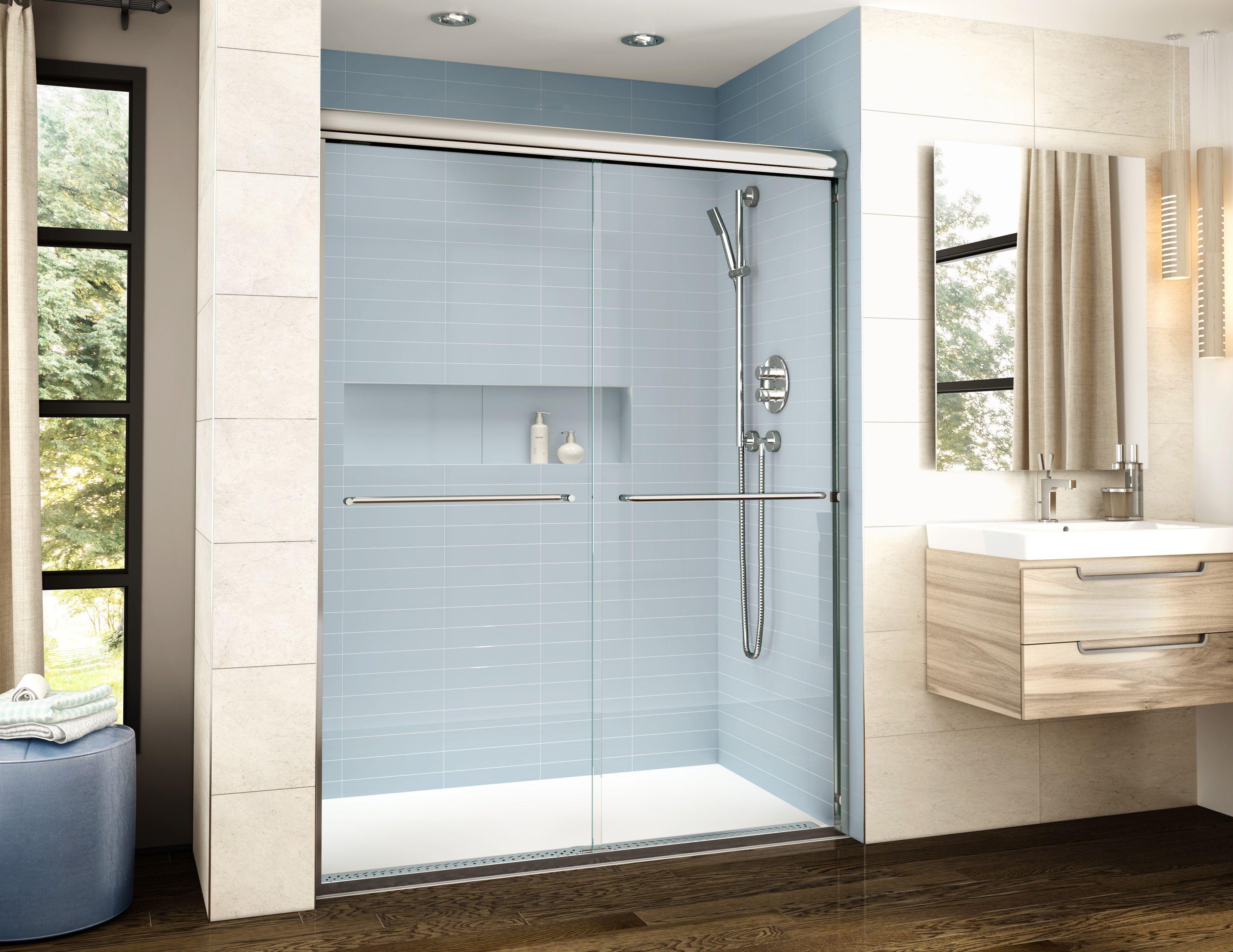 Great ADaptek Shower Base And The BANYO Cordoba Shower Door By FLEURCO