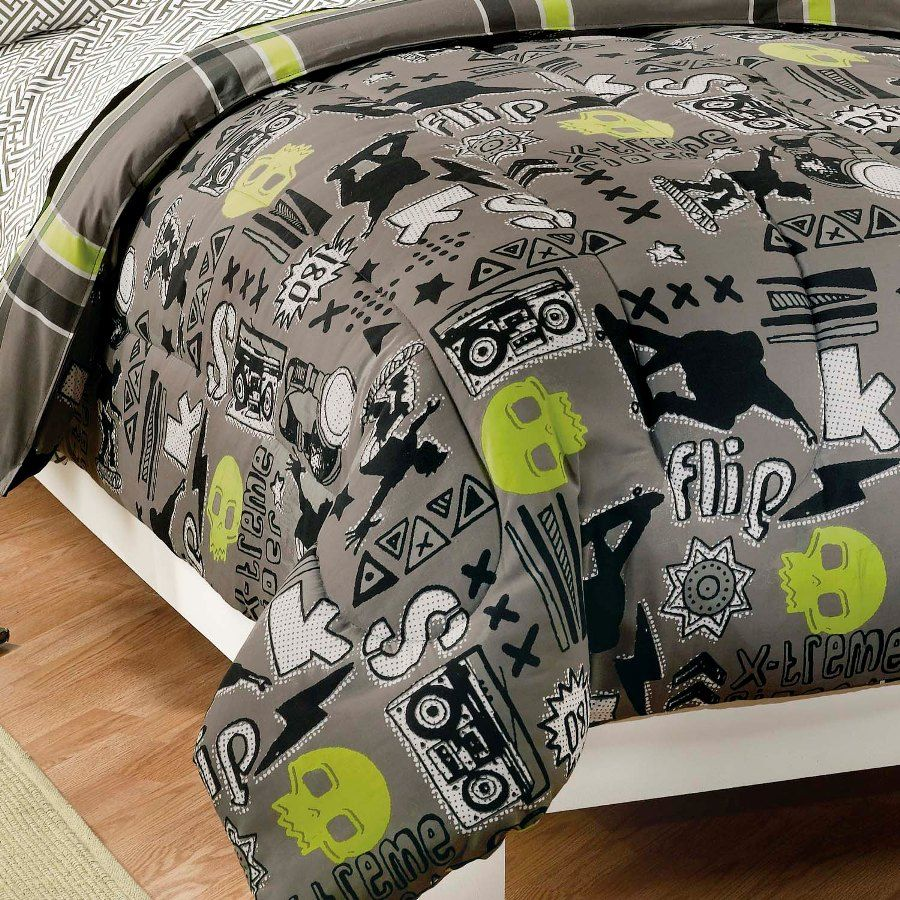 Black Gray Skateboard Bedding Boy Twin Or Full Comforter Set Bed In A Bag Green Skulls