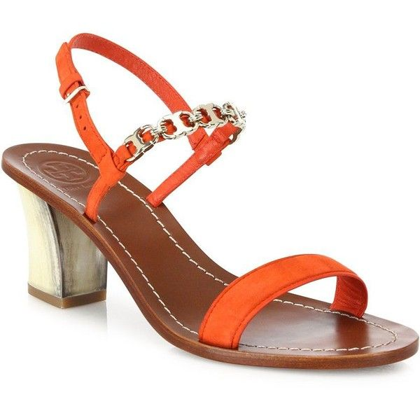 ce8a872f496 Tory Burch Gemini Link Suede Block-Heel Slingback Sandals ( 310) ❤ liked on