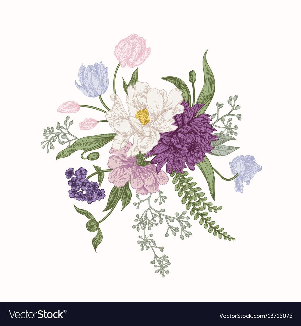 Bouquet in vintage style. Composition of colorful flowers