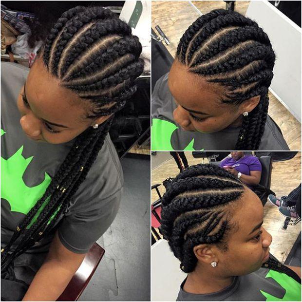 Latest Ghana Weaving All Back 2018 25 Beautiful Ghana Weaving Styles You Should Rock C Feed In Braids Hairstyles Ghana Braids Hairstyles Cornrow Hairstyles