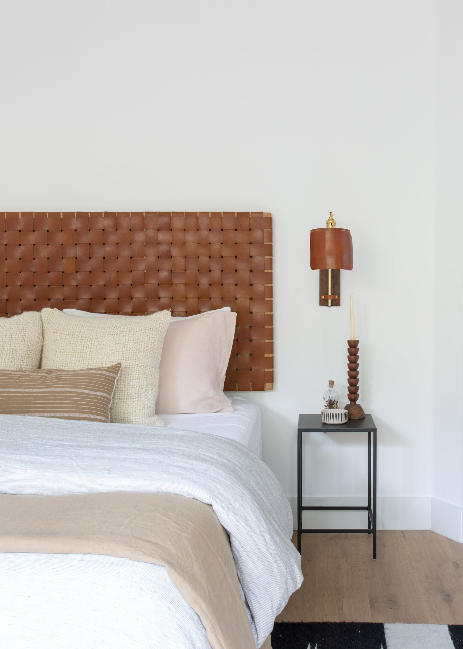 Brown Leather Bedroom Details Woven Leather Head Board Brown