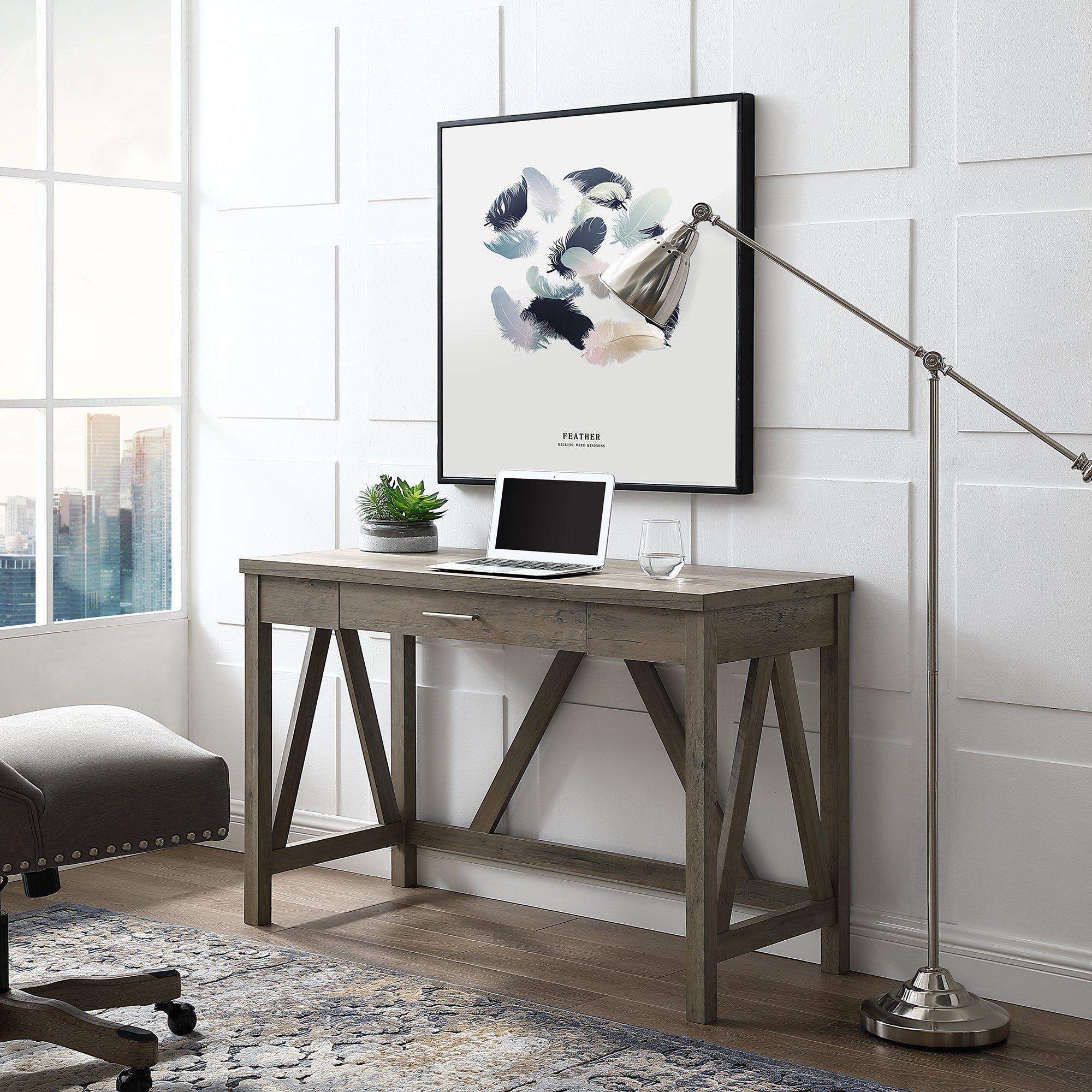 """46"""" AFrame Desk Grey Wash Grey desk, Wood computer"""