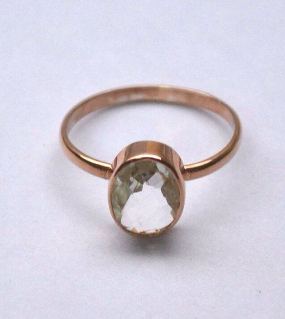 Beautiful Rose Gold Plated Ring size 7 with oval Clear Quartz