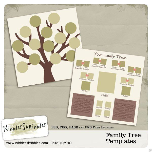 Family Tree Digital Scrapbooking Templates By Nibbles Skribbles