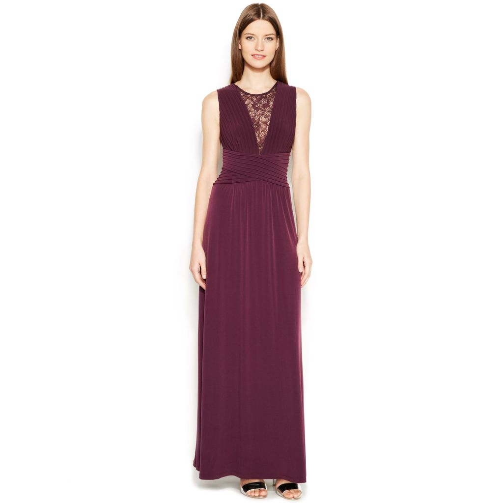 Calvin klein purple sleeveless illusion lace banded gown gowns