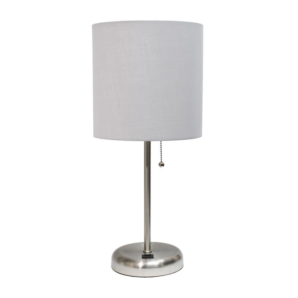 Limelights 19 5 In Grey Stick Lamp With Usb Charging Port And