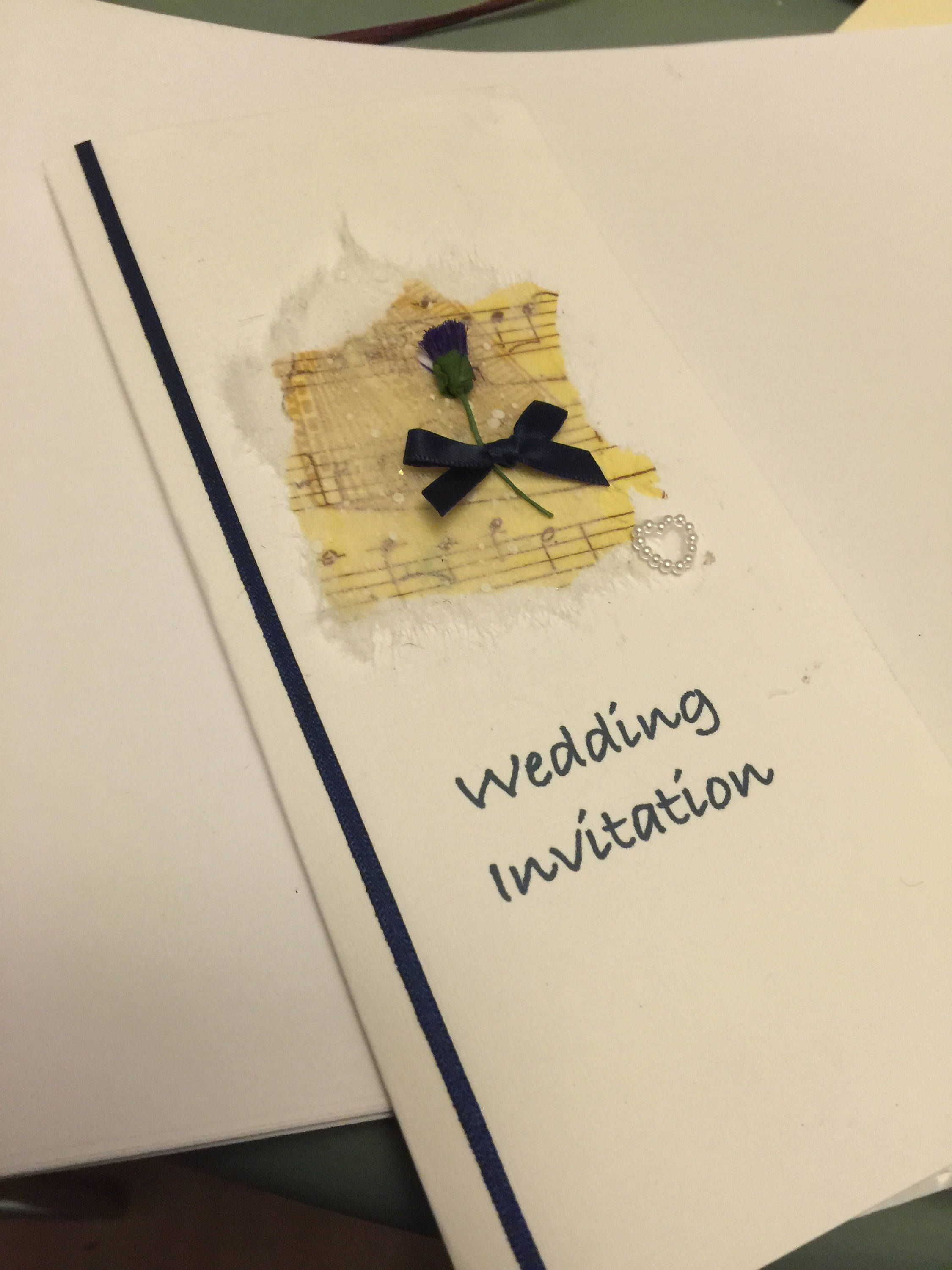 Scottish Wedding Stationery, (Thistle and music) Handcrafted ...
