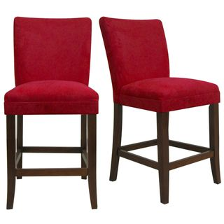 overstock com parson cranberry red counter height chairs set of 2