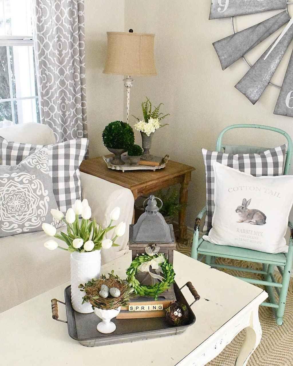 80 Farmhouse Spring Decor Ideas For Your Home Inspiration Homixover Com Spring Living Room Spring Home Decor Decor