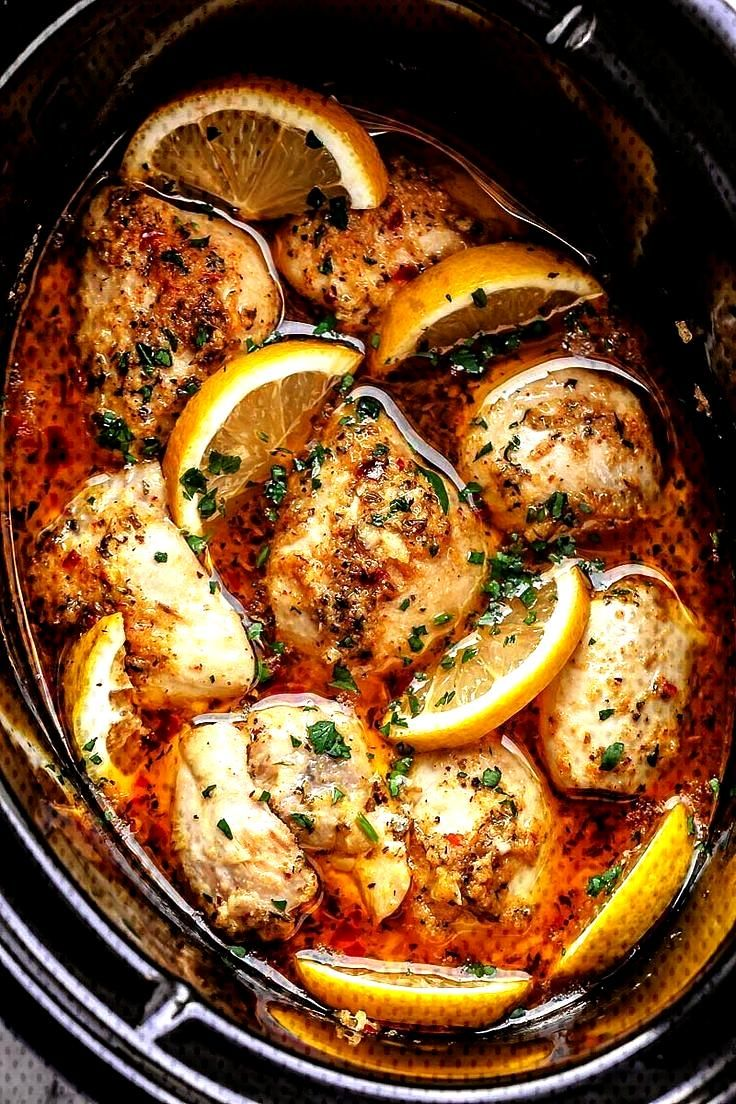 Crock Pot Lemon Garlic Butter Chicken - - Easy and delicious crock pot chicken dinner recipe with o