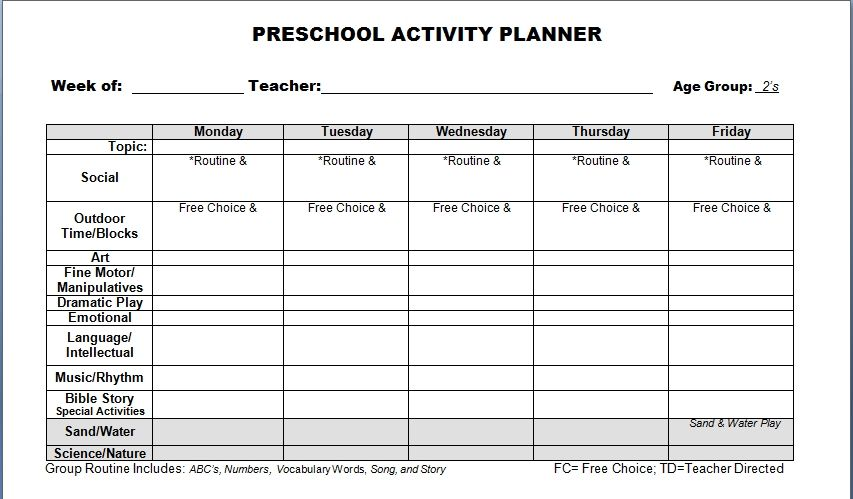 Image result for printable preschool lesson plan template Lesson - free lesson plan format