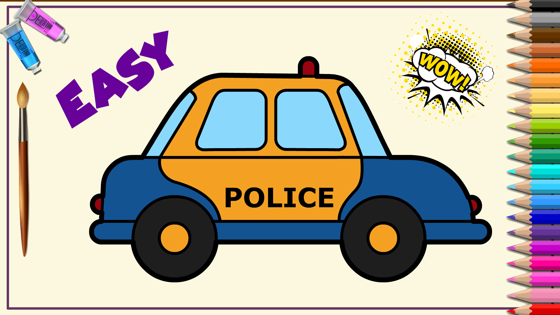 How to draw and color a beautiful police car | Easy ...