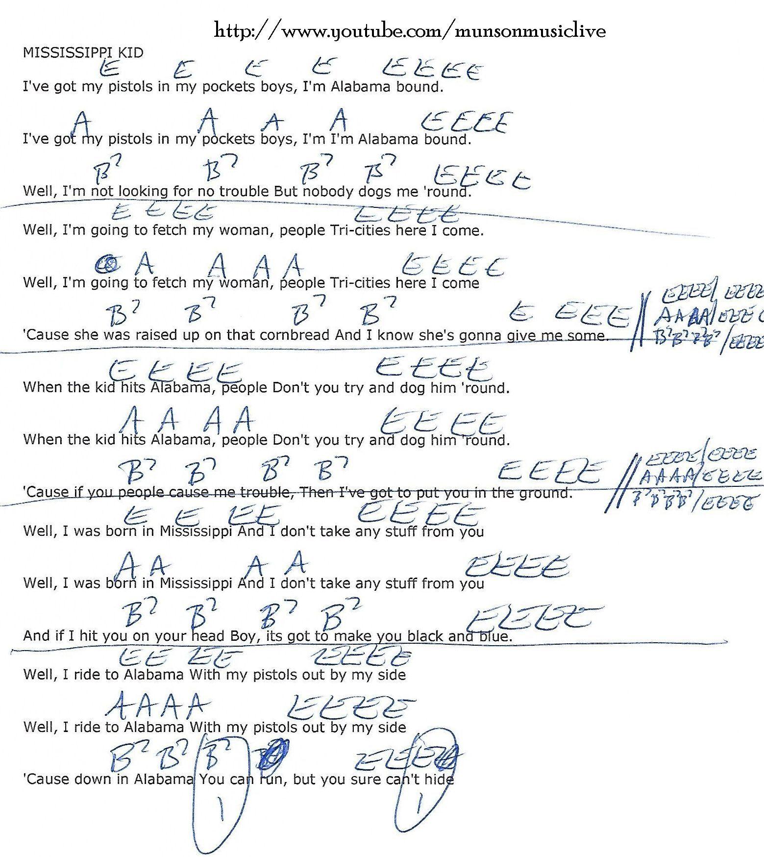 Mississippi Kid Lynyrd Skynyrd Guitar Chord Chart Ukulele