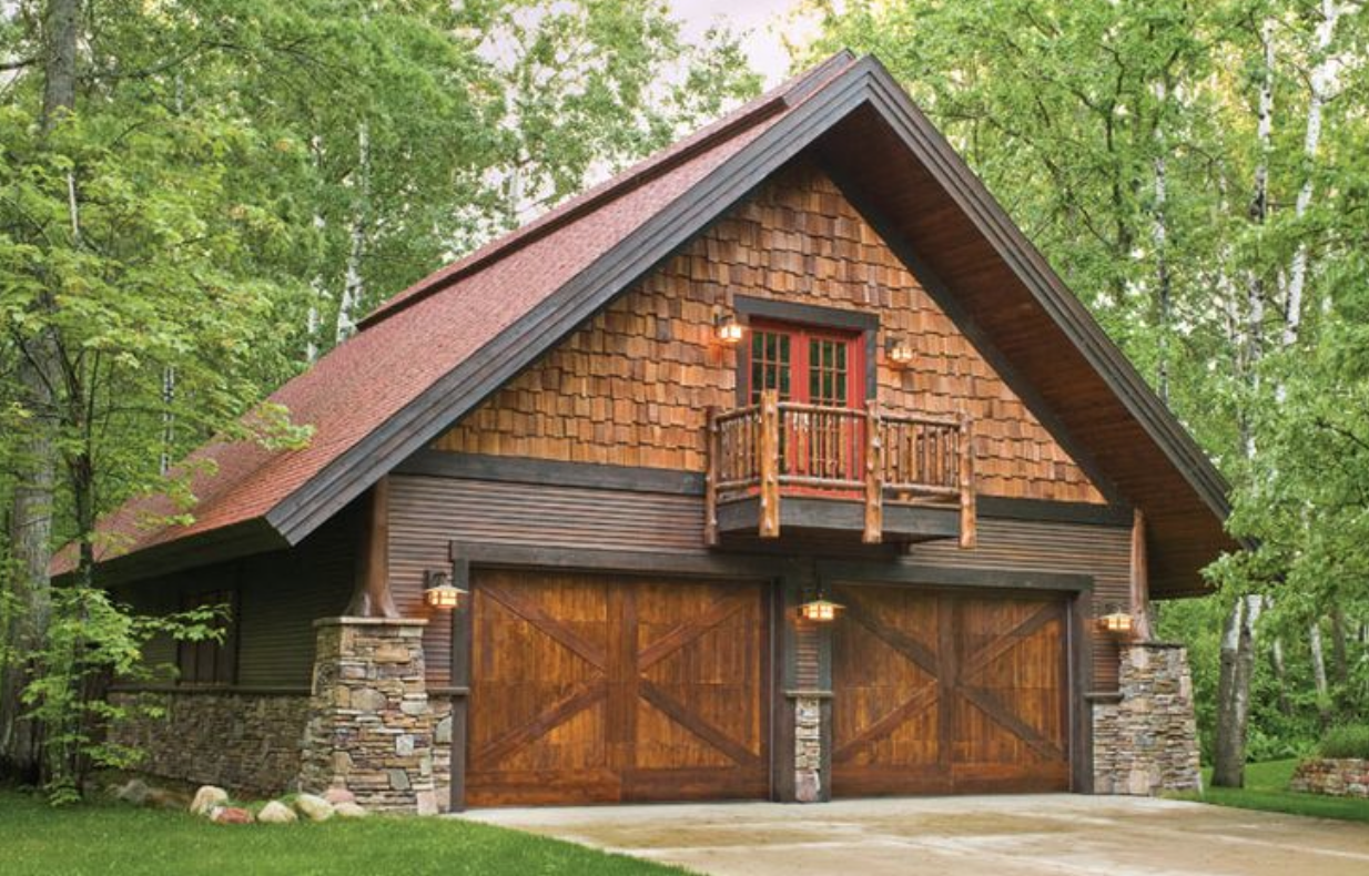 Best Rustic Combination Stone And Cedar Like It Garage 400 x 300