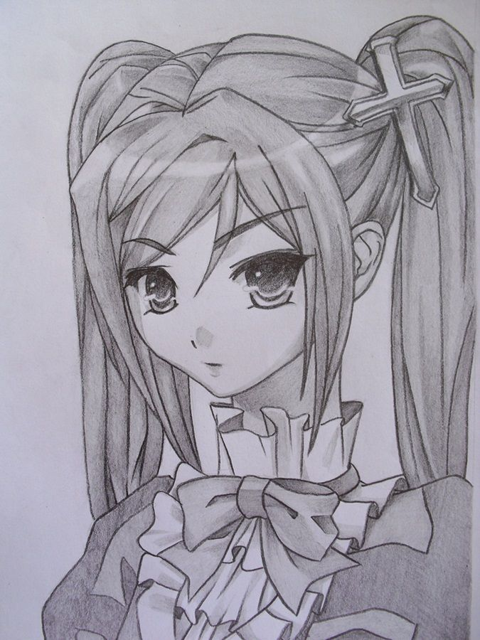 Anime Girl Drawn Pencil